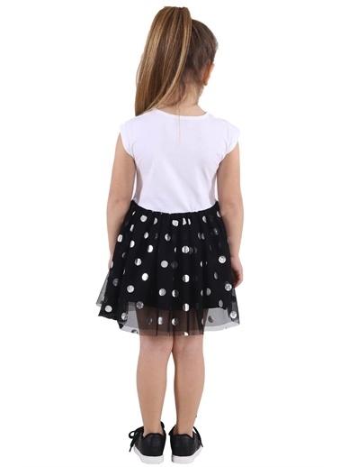 Silversun Kids Kız Çocuk Baskılı Etekleri Tüllü Elbise Ek 218367 Beyaz